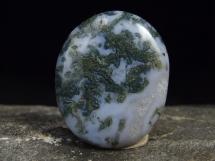 Agat mszysty - płaski kamień do masażu lub oprawy