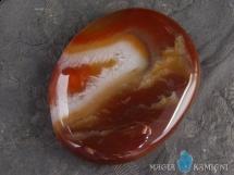 Karneol z agatem - płaski kamień do masażu lub oprawy