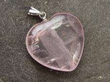 Kwarc różowy - zawieszka w kształcie serca
